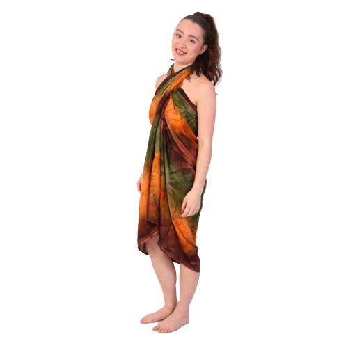 Sarong 3 oranje groen bruin d12614 thesouq - Kussen oranje en bruin ...