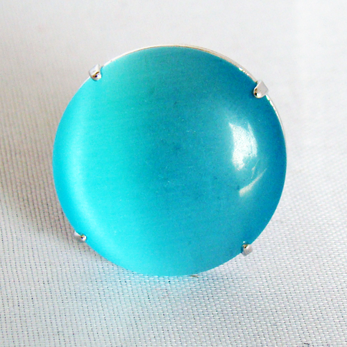 Verstelbare cateye ring blauw s thesouq