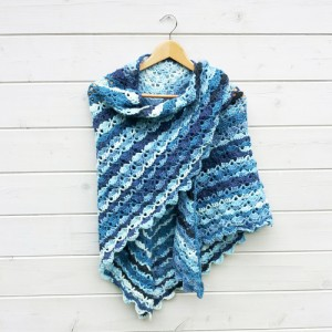 South Bay omslagdoek blauw/wit - H00023